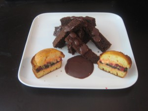 Cheeseburger cupcake, chocolate fries and chocolate gravy pudding