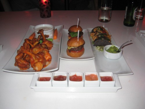 Wings, Kobe Sliders and Mini Tacos